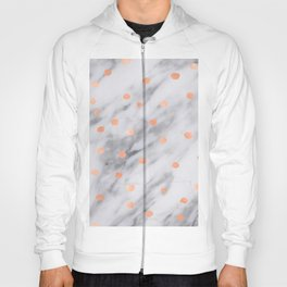Rose Gold Pink Dots Marble Pattern Hoody