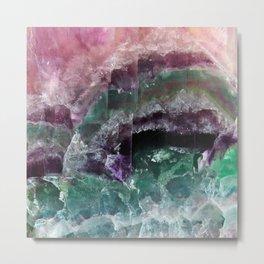 Pink & Green Watermelon Tourmaline Crystal Metal Print