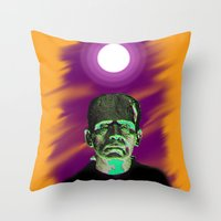 frankenstein Throw Pillows featuring Frankenstein  by JT Digital Art