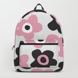 Black and pink flowers Backpack