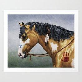 Native American Buckskin Pinto War Horse Art Print