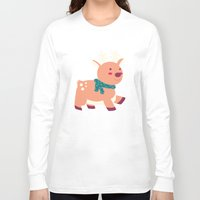 reindeer Long Sleeve T-shirts featuring Reindeer by Claire Lordon