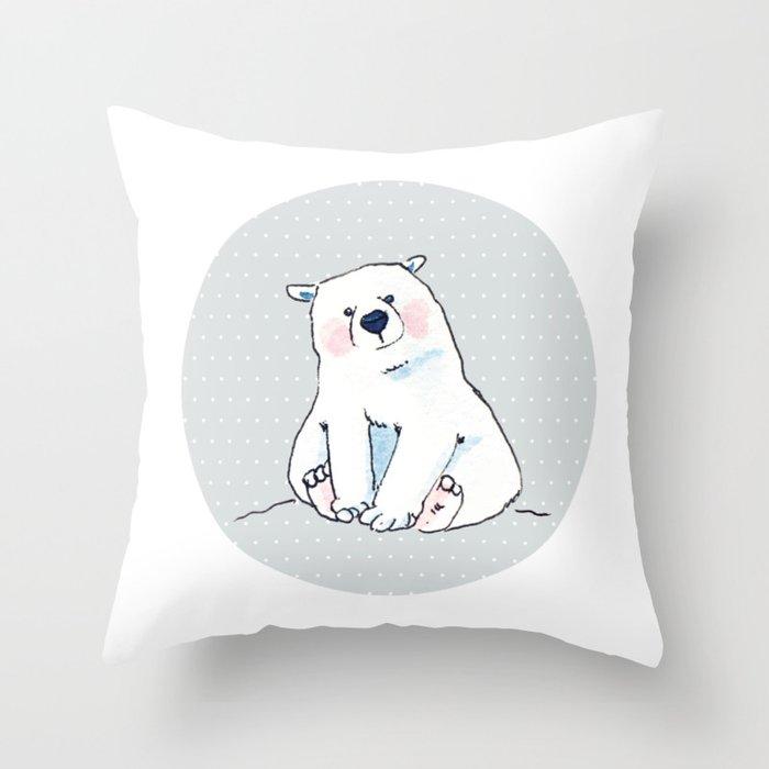 The little polar bear Throw Pillow