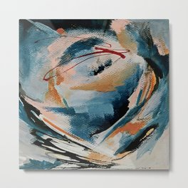 Drift 6: a bold mixed media piece in blues, brown, pink and red Metal Print