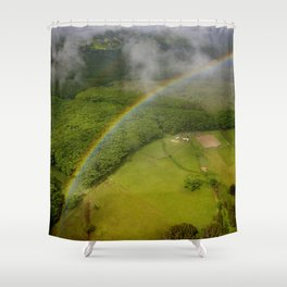 Hawaiian Rainbow Over Valley in Kauai: Aerial View Shower Curtain