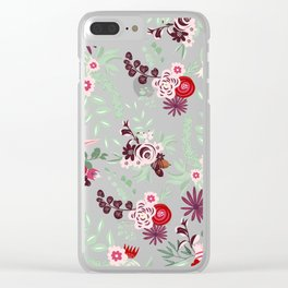 Abstract red pastel green pink country floral pattern Clear iPhone Case