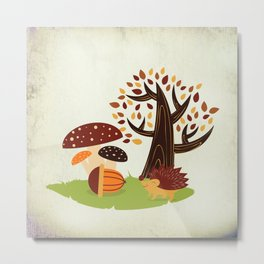 Hedgehog , forest mushrooms, autumn Metal Print