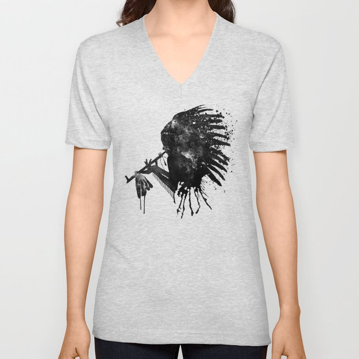 Indian with Headdress Black and White Silhouette Unisex V-Neck