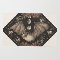 bat Area & Throw Rugs featuring Bat  by Jessica Roux