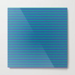 Even Horizontal Stripes, Teal and Indigo, S Metal Print