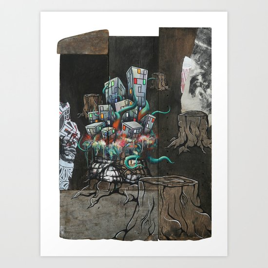 Mending the Stumped Art Print