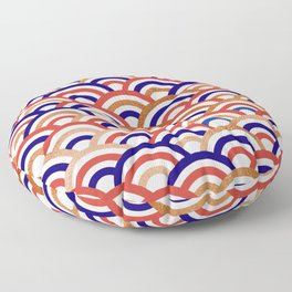 Japanese Seigaiha Wave Gold & Red Floor Pillow