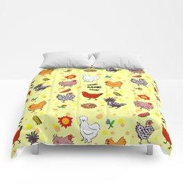 Cute seamless chickens pattern cartoon Comforters