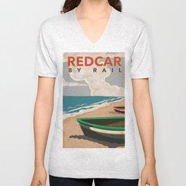 Redcar by rail - British railway travel poster Unisex V-Neck