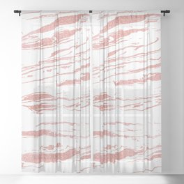 Modern abstract pink marbleized paint. Sheer Curtain