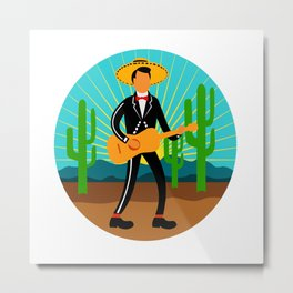 Mexican Mariachi in Desert Circle Retro Metal Print