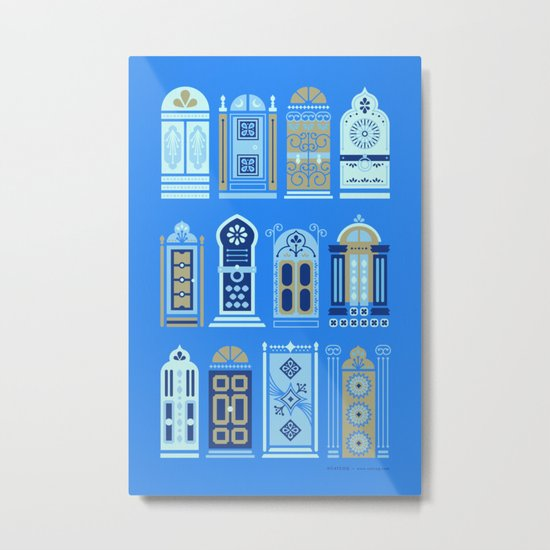 Moroccan Doors – Cornflower Blue Palette Metal Print