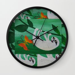 sloth sloths happy hanging upside down green orange art funny silly cute picture design for cushion Wall Clock