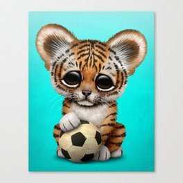 Tiger Cub With Football Soccer Ball Canvas Print