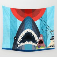 spongebob Wall Tapestries featuring Gonna need a bigger boat by milanova