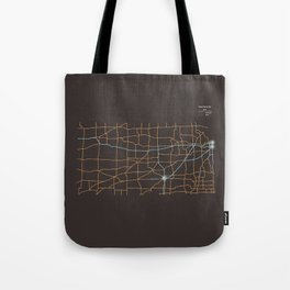 Kansas Highways Tote Bag