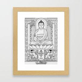 Buddha Black & White Framed Art Print