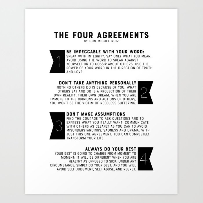 picture regarding The Four Agreements Printable named The 4 Agreements as a result of put on Miguel Ruiz Artwork Print by way of graphicbicycle