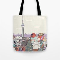 toronto Tote Bags featuring Toronto by Ashley Ross