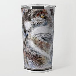 Gray Wolf Watches and Waits Travel Mug