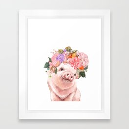 Lovely Baby Pig with Flowers Crown Framed Art Print