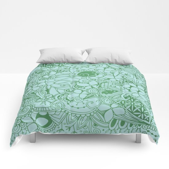 Blue square, green floral doodle, zentangle inspired art pattern Comforters