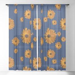 Orange power flower Sheer Curtain