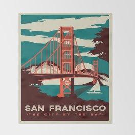 vintage poster san francisco Throw Blanket