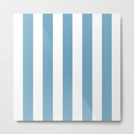Moonstone blue - solid color - white vertical lines pattern Metal Print