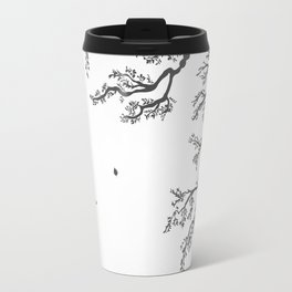 tree branches with birds and leaves on a light background Travel Mug