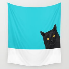 Black Cat peeking around the corner funny cat person gift for cat lady hipster black cat ironic art Wall Tapestry