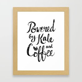 Powered by Kale and Coffee Framed Art Print