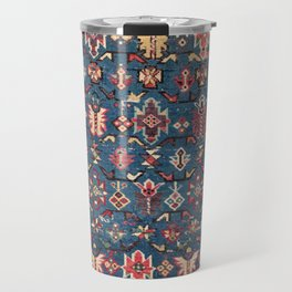 Cobalt Blue Khyrdagyd // 19th Century Authentic Colorful Yellow Red Aztec Butterfly Accent Pattern Travel Mug