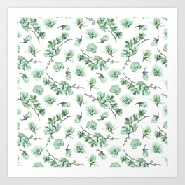 Pastel green watercolor modern orchid floral pattern Art Print