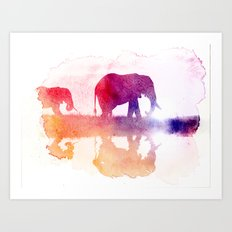 Watercolor Wildlife Art Print