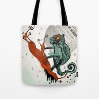 chameleon Tote Bags featuring CHAMELEON by taniavisual