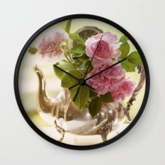 Pink English Roses in a silver Pot- Vintage Rose Stilllife Photography Wall Clock