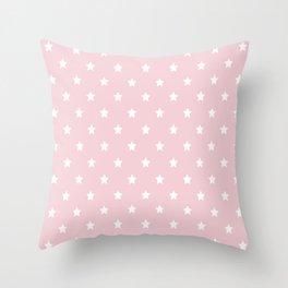 Pastel Pink Star Pattern Throw Pillow