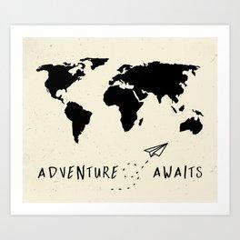 Adventure Map - Vintage Black Art Print