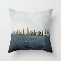 san diego Throw Pillows featuring San Diego  by Bree Madden