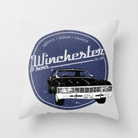 winchester Throw Pillows featuring Winchester & sons by mostly10