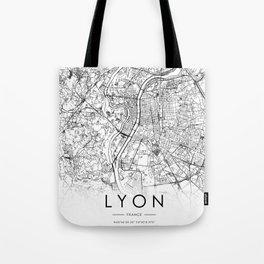 Lyon City Map France White and Black Tote Bag