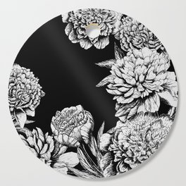 FLOWERS IN BLACK AND WHITE Cutting Board