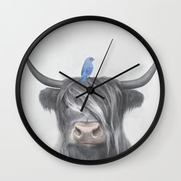 Scottish Cow & Blue Bird Wall Clock