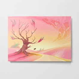 Romantic landscape with tree and sunset Metal Print